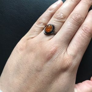 Vintage Sterling Silver .925 Amber Ring Stone sz 6